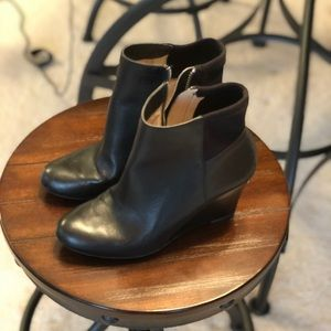 Michael Kors leather wedge booties